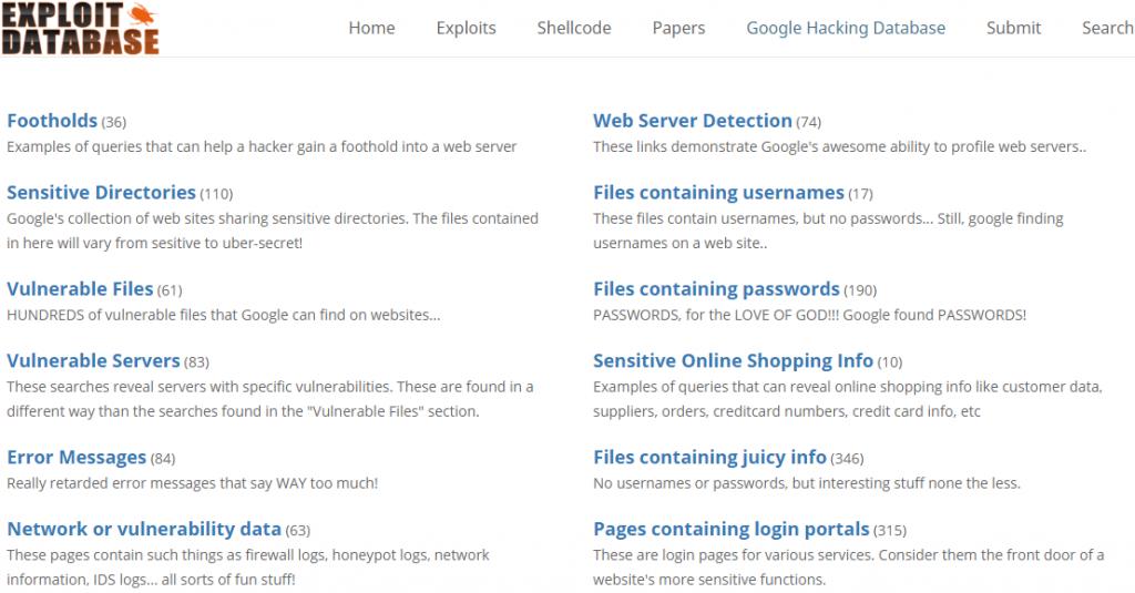 Google Hacking DB