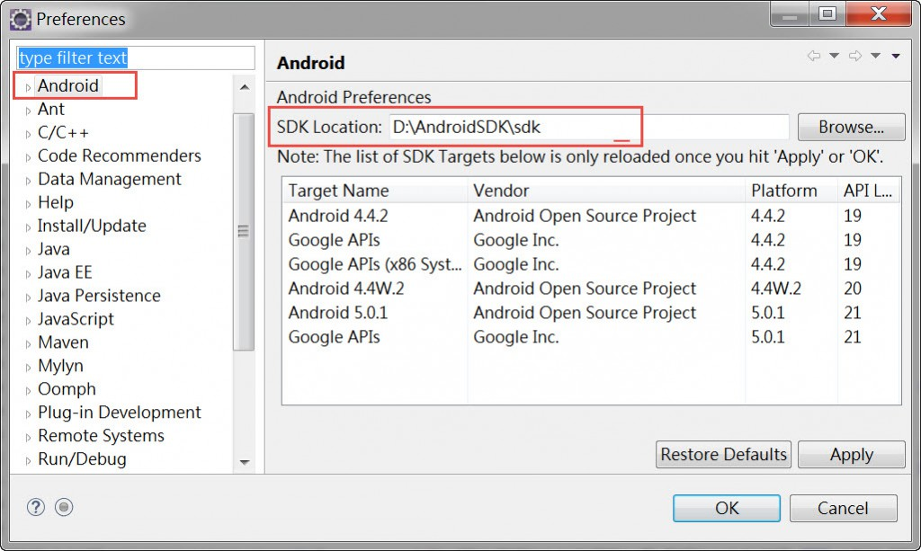 Android SDK location