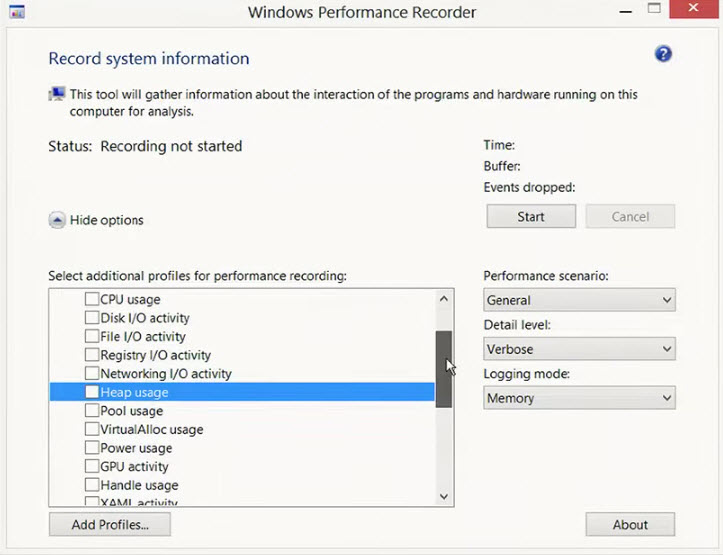 Windows Performance Recorder profile setup