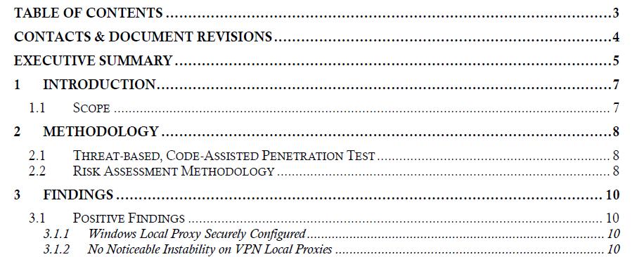 Penetration testing report agenda