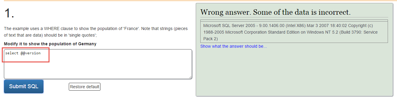 SQL injection DB version