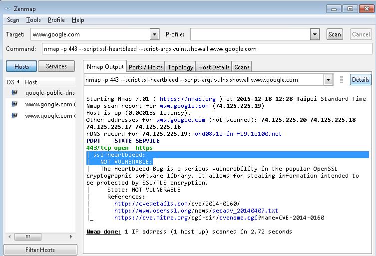 NMAP SSL HeartBleed Verify